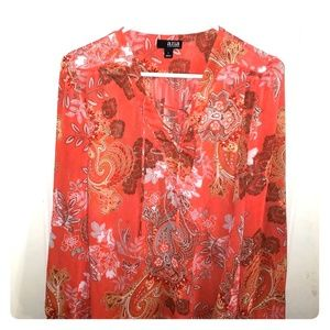 Sheer paisley orange blouse